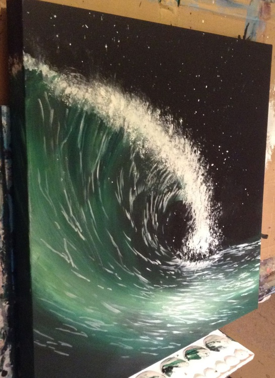 """Midnight Breaker"" 24 x24 inch  acrylic on box canvas - Image 0"