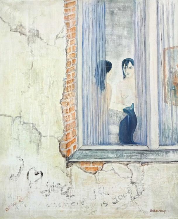 Blue Cat, Dark Lady - Ölbild 50 x 60 cm - Image 0