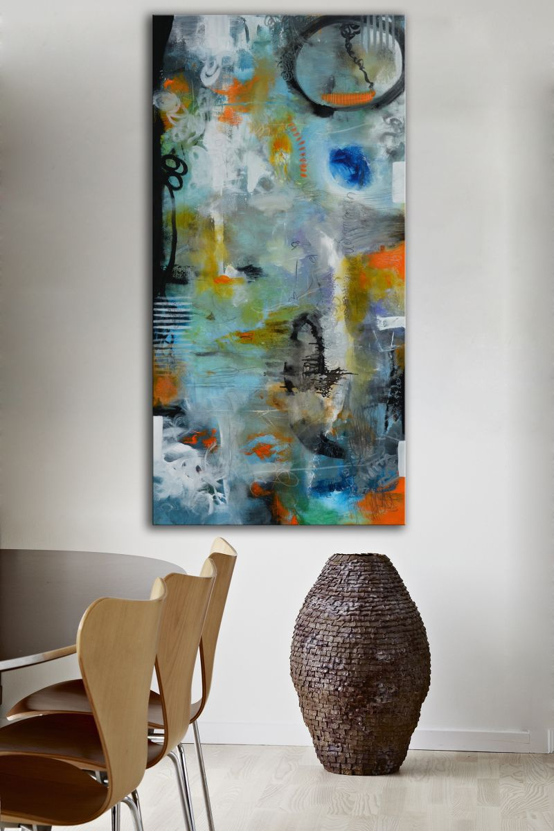 soir d 39 hiver original blue and orange painting blue abstract painting ready to hang 2016. Black Bedroom Furniture Sets. Home Design Ideas