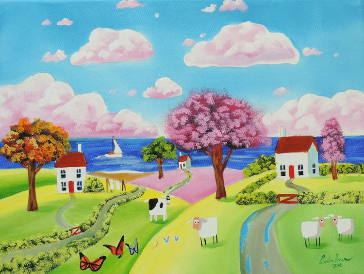 Folk art naive landscape with a cow - Image 0