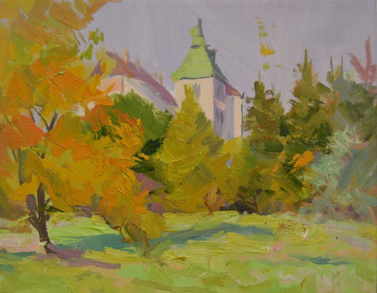 "Landscape painting titled ""Golden Day"" - Image 0"