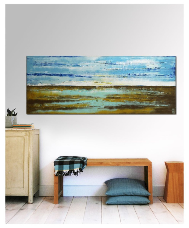 Abstract Painting - Landscape Camel Blue - C13 - Image 0