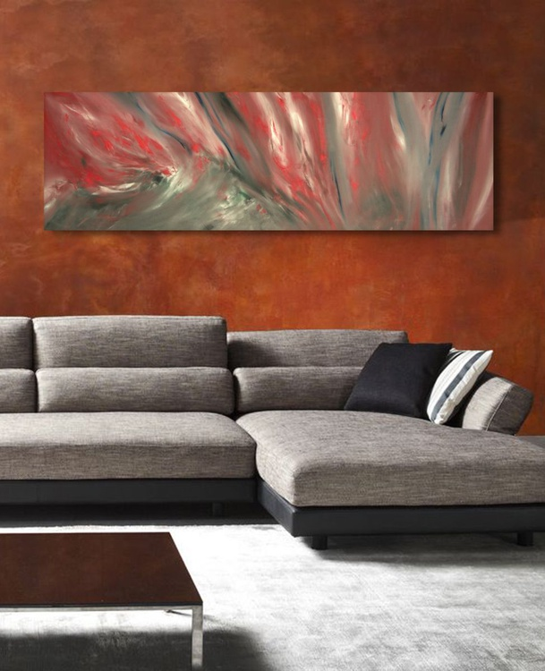 Scarlet shadow - 120x40 cm, Original abstract painting, oil on canvas - Image 0