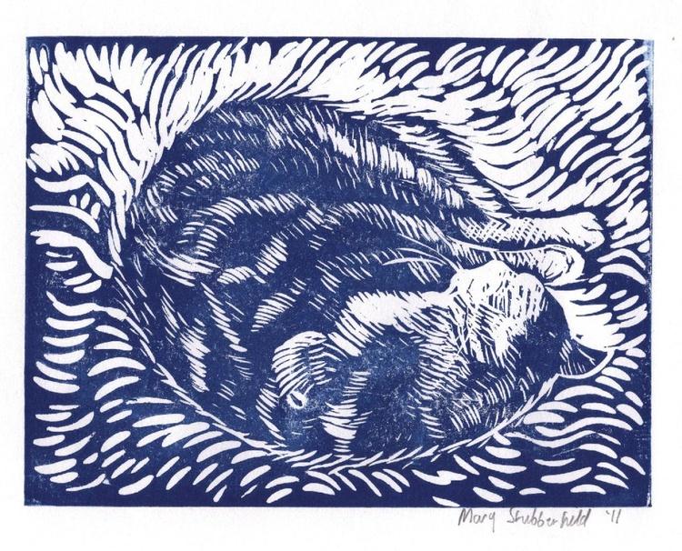 Reclining cat lino print - Image 0