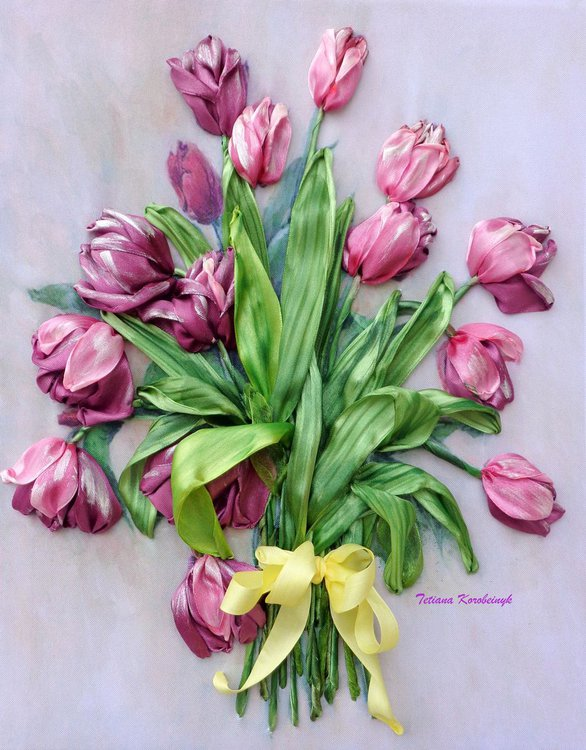 Ribbon Embroidery Picture Tulips Silk Ribbon Artfinder