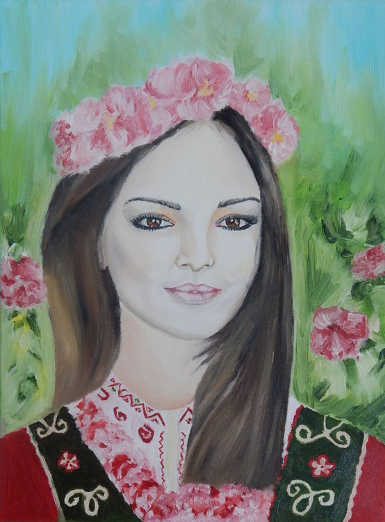 """""""Bulgarian girl""""-oil on canvas painting - Image 0"""