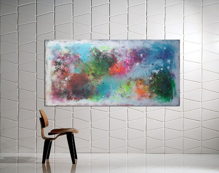 """47x 23""""( 120x60cm) acrylic landscape, canvas art, structure on canvas, Terra 4 - Image 0"""