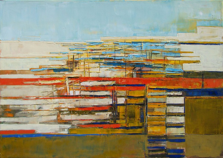 "Original oil painting, abstract modern canvas art, ""City plan"". Size 39.37 x 27.5 inch (100/70cm). - Image 0"