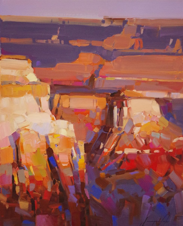 Grand Canyon - Sunset, Landscape oil painting,  One of a kind, Signed, Hand Painted - Image 0