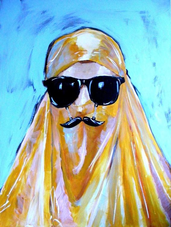 Elizabeta in Gold Burqua with Moustache Glasses - Image 0