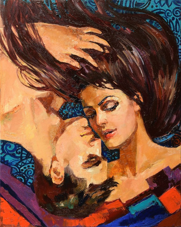 The Kiss, Original oil portrait painting - Image 0