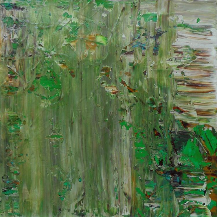 "Green Haze - 12x12"" - READY TO HANG - ART AS A GIFT - Image 0"