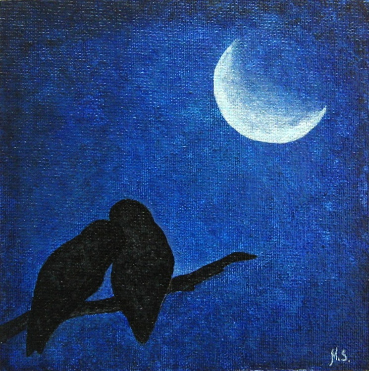 Two owls at night - Image 0