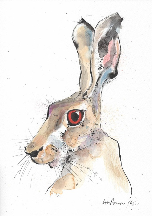 Hare - Alert #02, watercolour and ink - Image 0