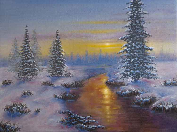 Mid winter River - Oil on canvas -