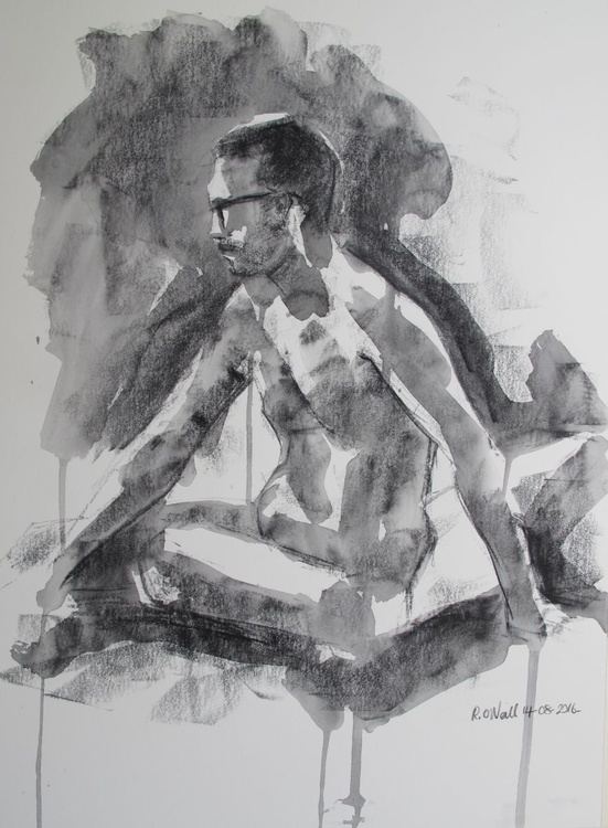 seated male nude - Image 0