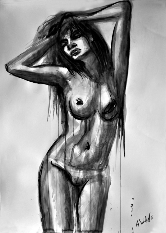 Nude Model with Long Hair - Image 0
