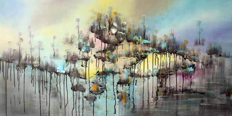 Stepping Cloud - Abstract Acrylic Art Painting - 28x55 inch, 2015 -