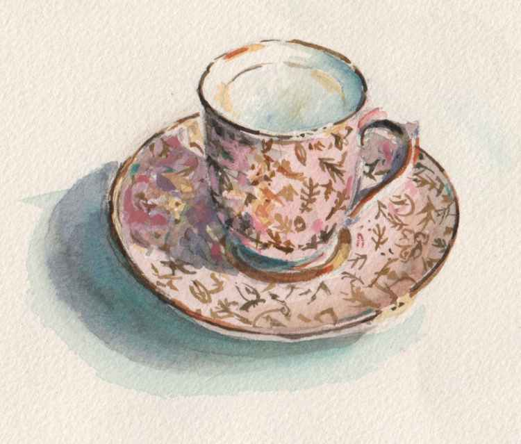 Pink cup and saucer -
