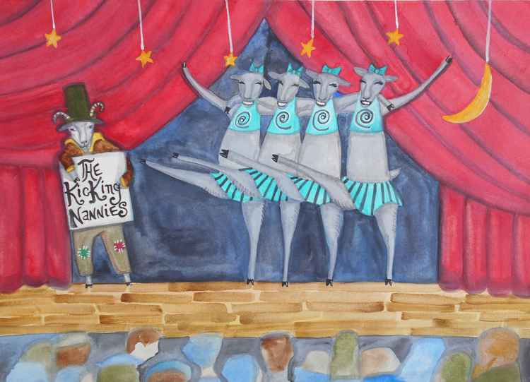 The Kicking Nannies All Star Goat Show Original Painting -