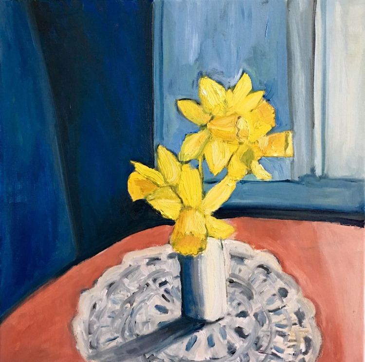Vase of Daffodils, Still Life Oil Painting w Flowers - Image 0
