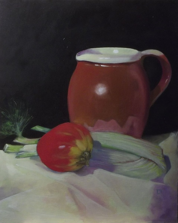 still life: jug with fennel and tomato on ivory cloth - Image 0