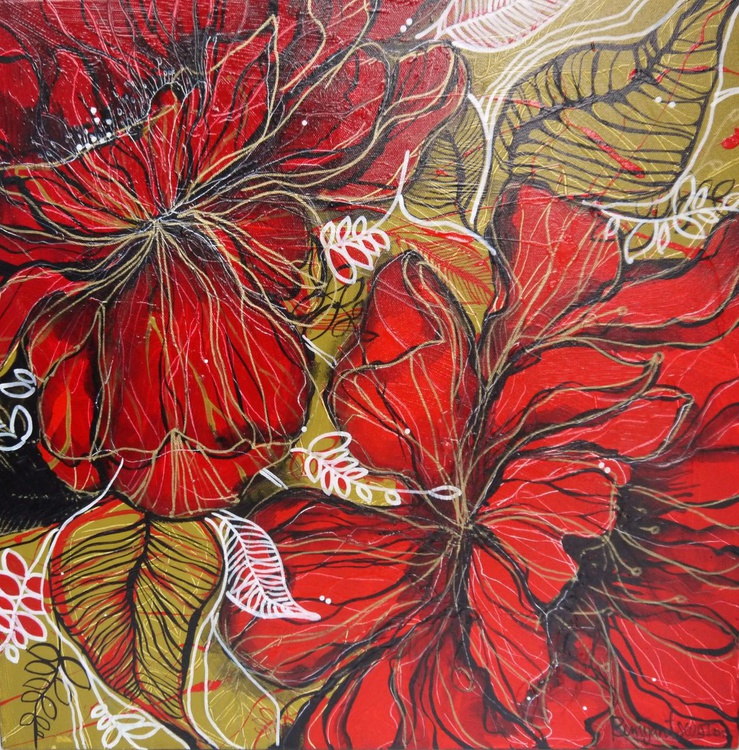 Blooming Red Flowers - 50cm x 50cm, ready to hang - Image 0