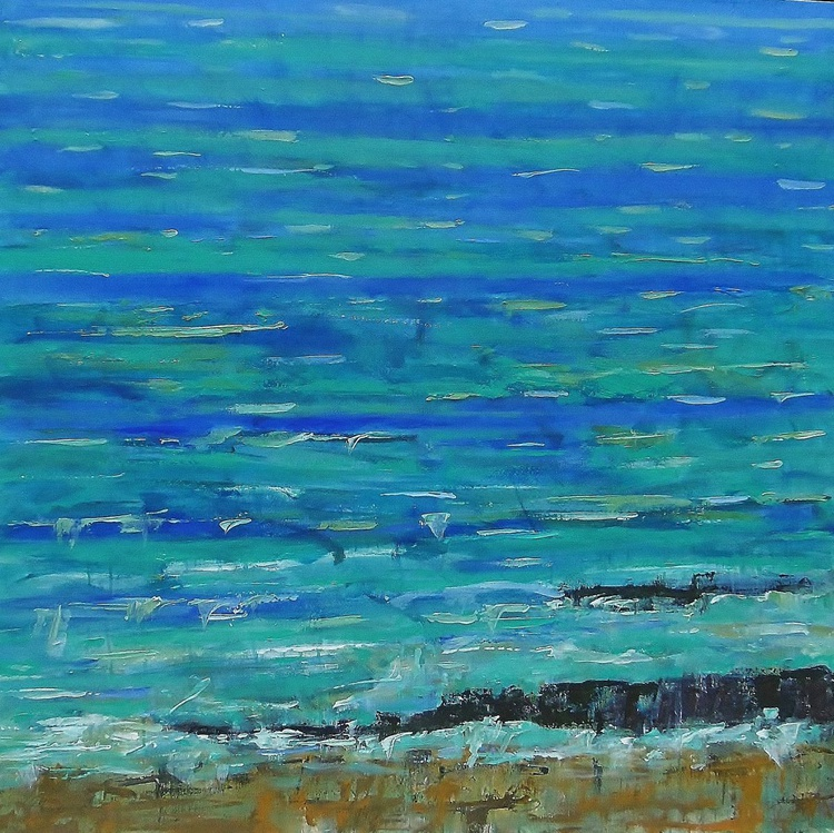 'Choppy Seas, High Summer' Large Abstract - Image 0