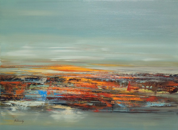 Red Fields - 61 x 84 cm, gray, brown, red orange abstract landscape oil painting - Image 0