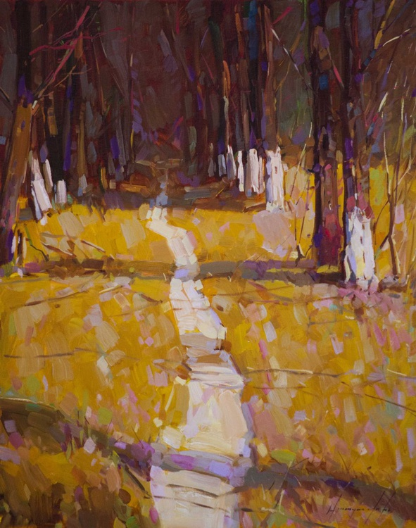 Landscape oil Painting Through the Forest One of a kind Handmade Artwork Impressionism - Image 0