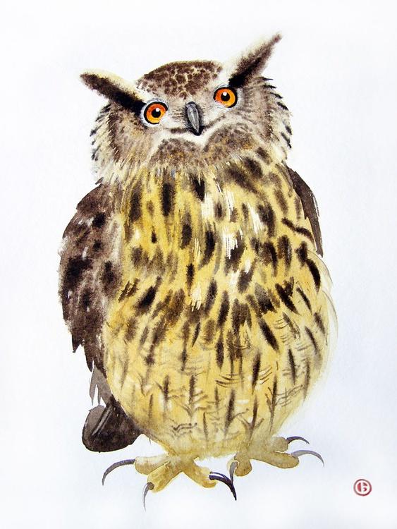 Funny Eagle Owl - Original Watercolor - Wildlife Art - Owl Painting - Image 0