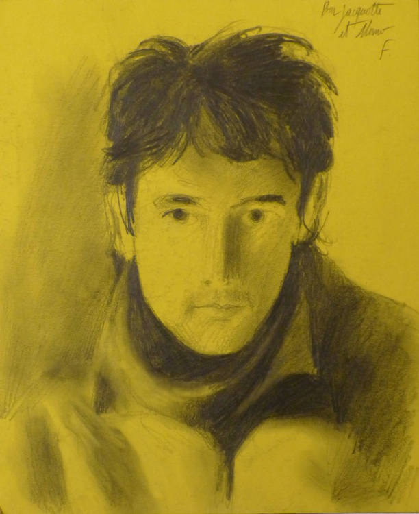 Self-portrait on yellow paper, 15x21 cm - Image 0