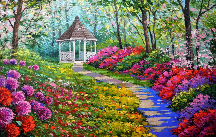 """Alley of flowers - Large Painting on Canvas 2016. Size: 32""""x52"""" (80 cm x130 cm) - Image 0"""