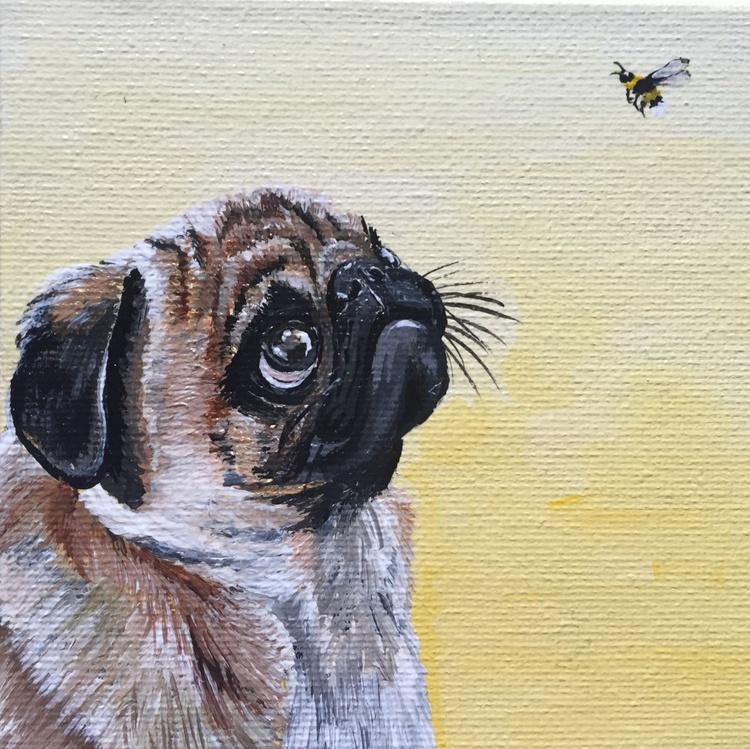Pug and a bug on lemon (miniature) - Image 0