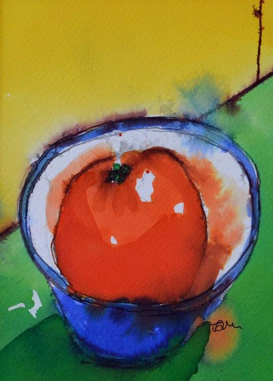 Orange In A Blue Bowl - Image 0