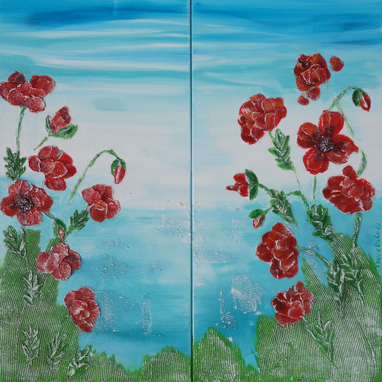 Red Poppies 63 textured painting blue sky sea flowers decor original floral art 100x100x2 cm acrylic on stretched canvas wall art by artist Ksavera - Image 0