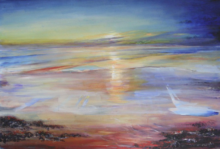 Reflections of a setting sun in a Northumbrian Sea - Image 0