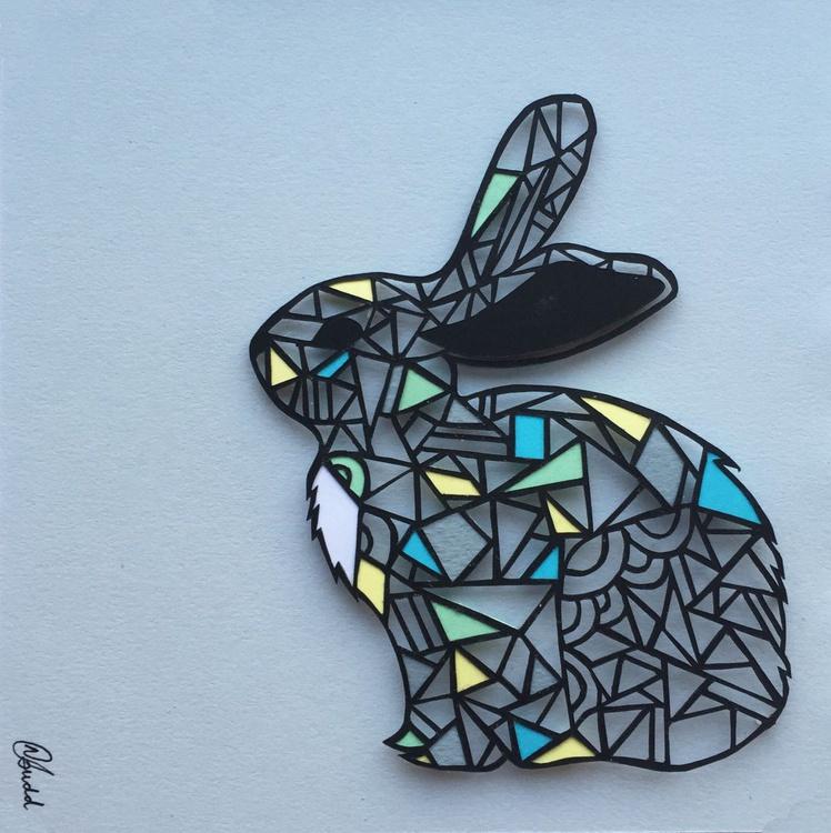 Papercut Geometric Rabbit (Framed) - Image 0