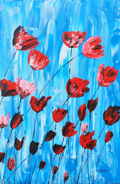 Poppies on Blue - Image 0