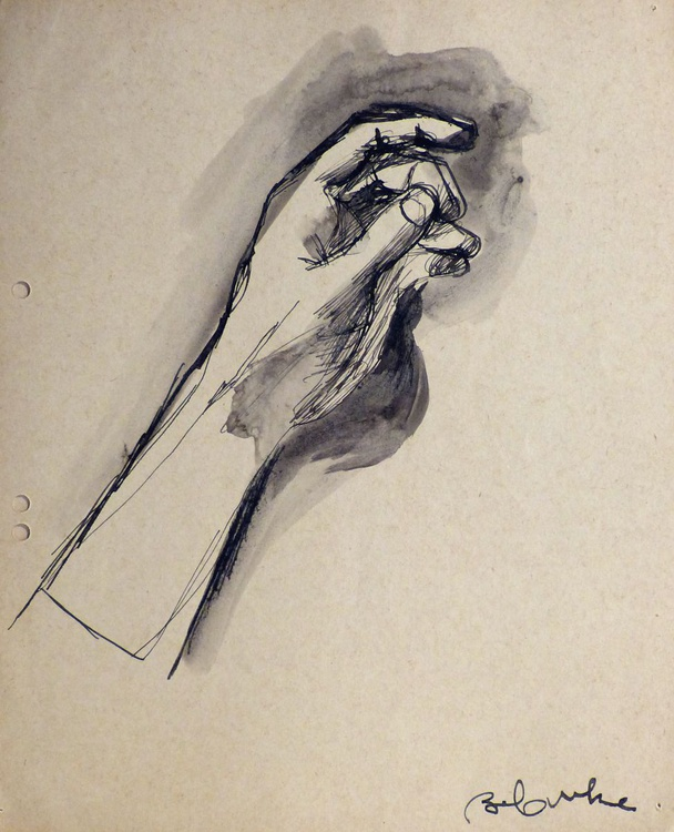 Study Of Hands 4, on divider paper, 22x27 cm - Image 0