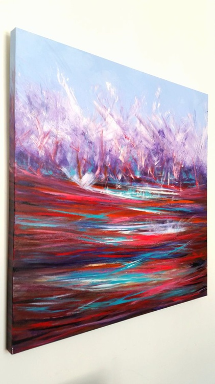 Mulberry Burst - XL, abstract, red, purple, WOW, Modern Art Office Decor Home - Image 0