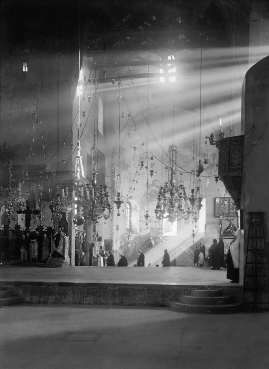 Bethlehem, the Basilica at the Church of the Nativity. The apses lit up with shafts of sunlight - Image 0
