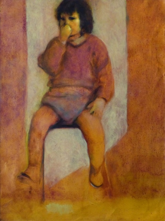 A child of the 60s, oil on canvas 81x60 cm - Image 0