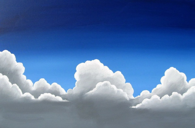 original large painting wall canvas art -Cloudbase- 24 x36 inches original sky painting  - Image 0