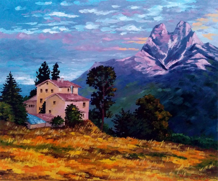 The house near the mountain - 55x46cm - 21.7x18.1in - Image 0