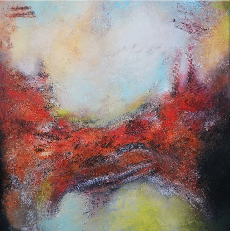 Approaching Distant Mysteries, Large Abstract Painting, 48x48, Red and Grey  painting ready to hang - Image 0