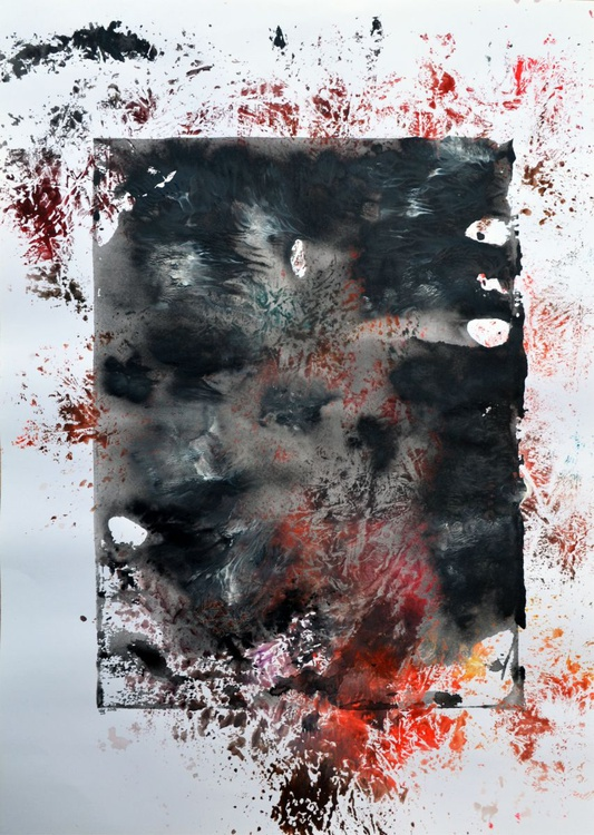 Darkness Abstract - Acrylic Abstract Art Painting On Large A2 Paper - Image 0