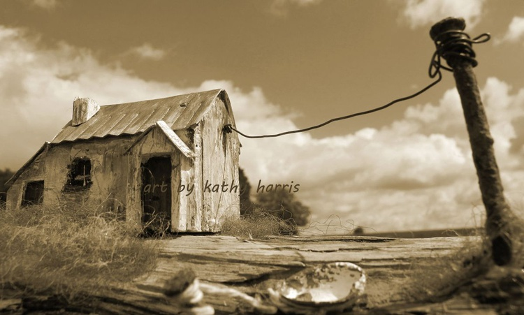 Sculpture art photo of derelict house with galvanised roof - Image 0