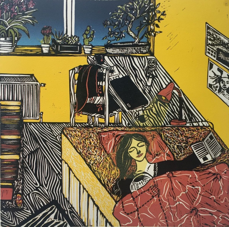 """The Yellow London Room Where I Learnt to be Happy Alone (12x12"""") - Image 0"""