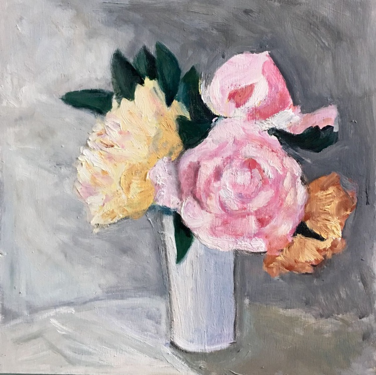 Vase of Peonies, still life with flowers, Small size oil painting - Image 0